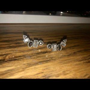 Dressy stud earring black/silver/grey